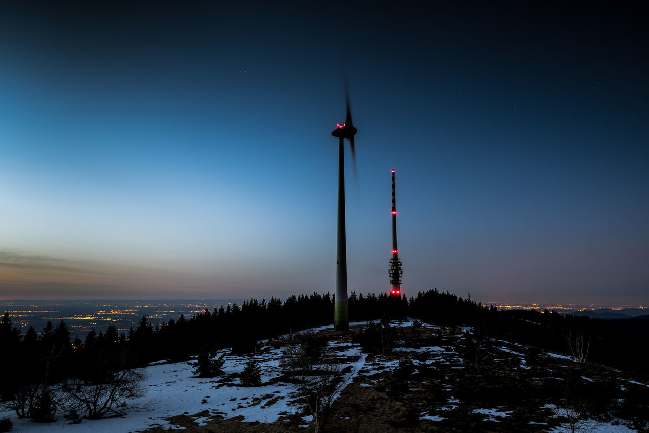 City Cold Temperature Darkness And Light Nature Night Nightphotography No People Outdoors Sky Snow Tower Travel Windmill Winter