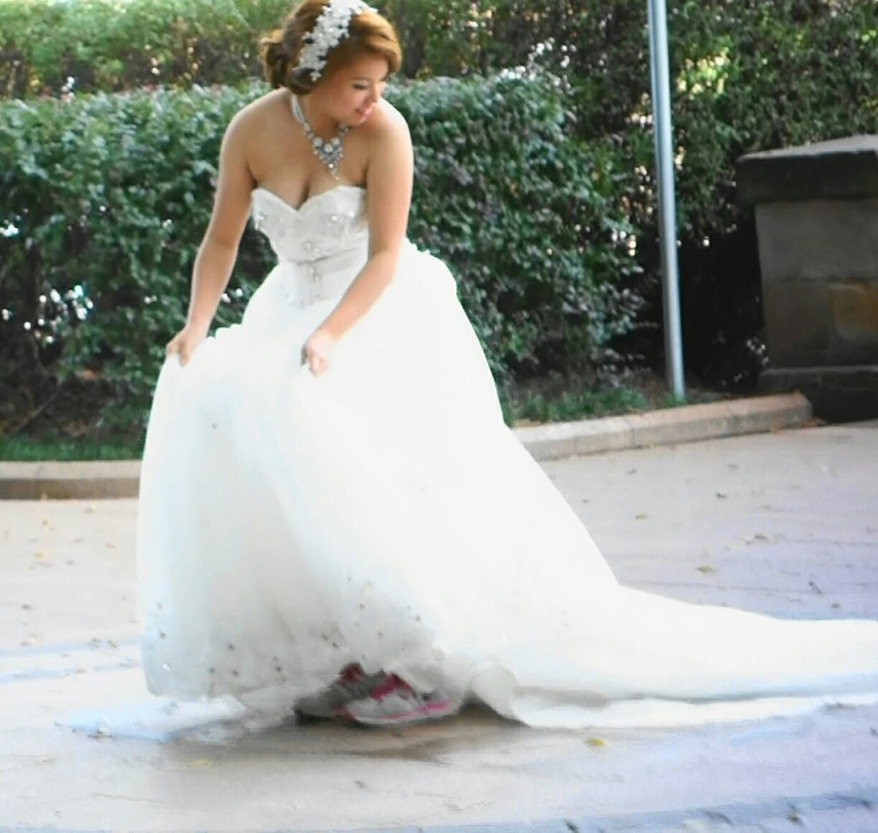 bride, wedding, wedding dress, full length, real people, life events, outdoors, day, one person, women, standing, young adult, young women, well-dressed, groom, bridegroom, adult, people