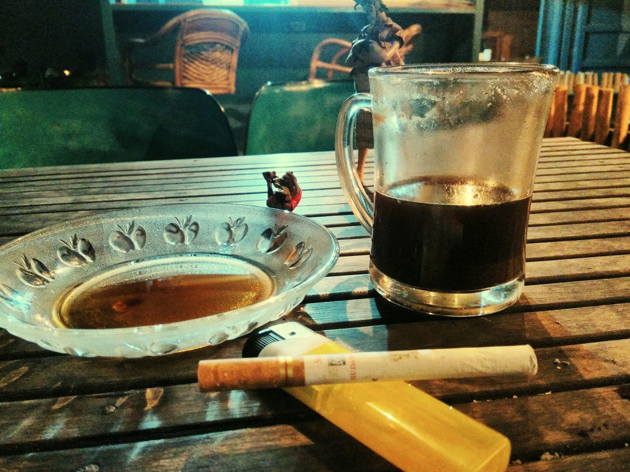 Indonesian black coffe and cigarette Drink Refreshment Drinking Glass Coffee - Drink Indoors  Food And Drink Table Cocktail Day Alcohol Ice Cube No People Ashtray  Freshness Frothy Drink Close-up Looking At Camera Portrait Front View Water EyeEmNewHere