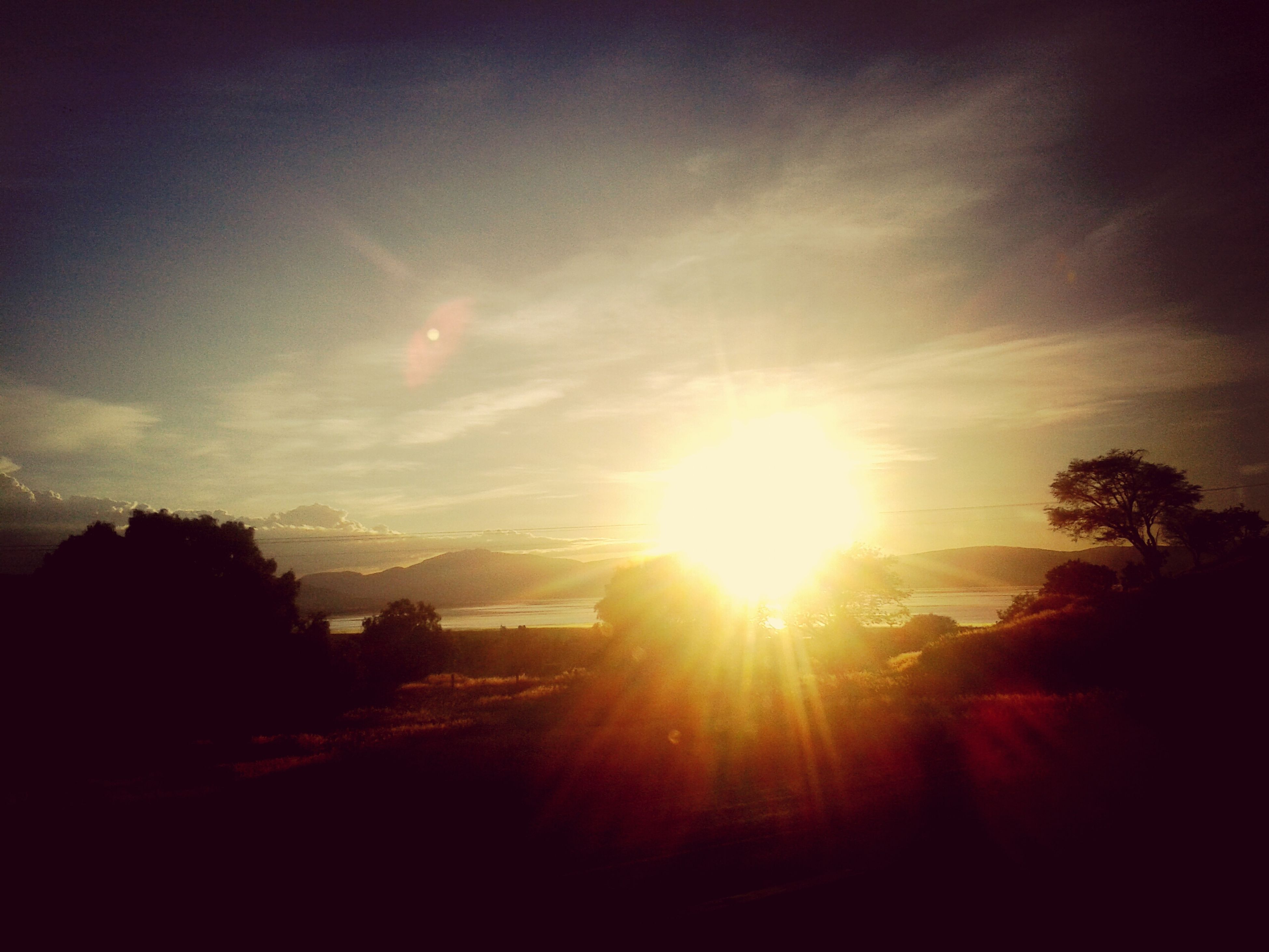 sunset, sun, silhouette, tree, sky, sunlight, sunbeam, lens flare, beauty in nature, tranquility, nature, scenics, tranquil scene, cloud - sky, built structure, building exterior, outdoors, architecture, no people, orange color