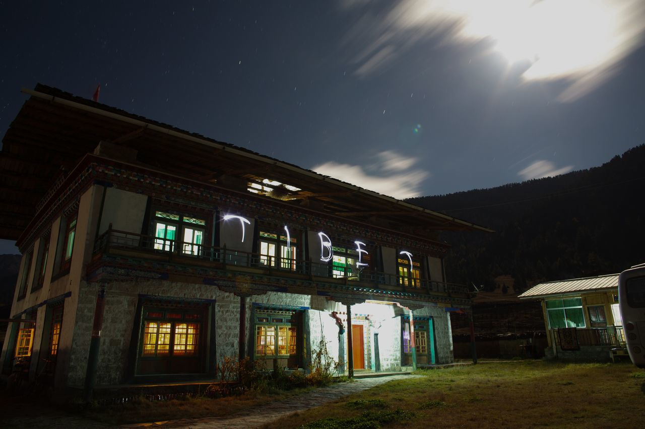 architecture, built structure, building exterior, window, night, no people, sky, illuminated, outdoors