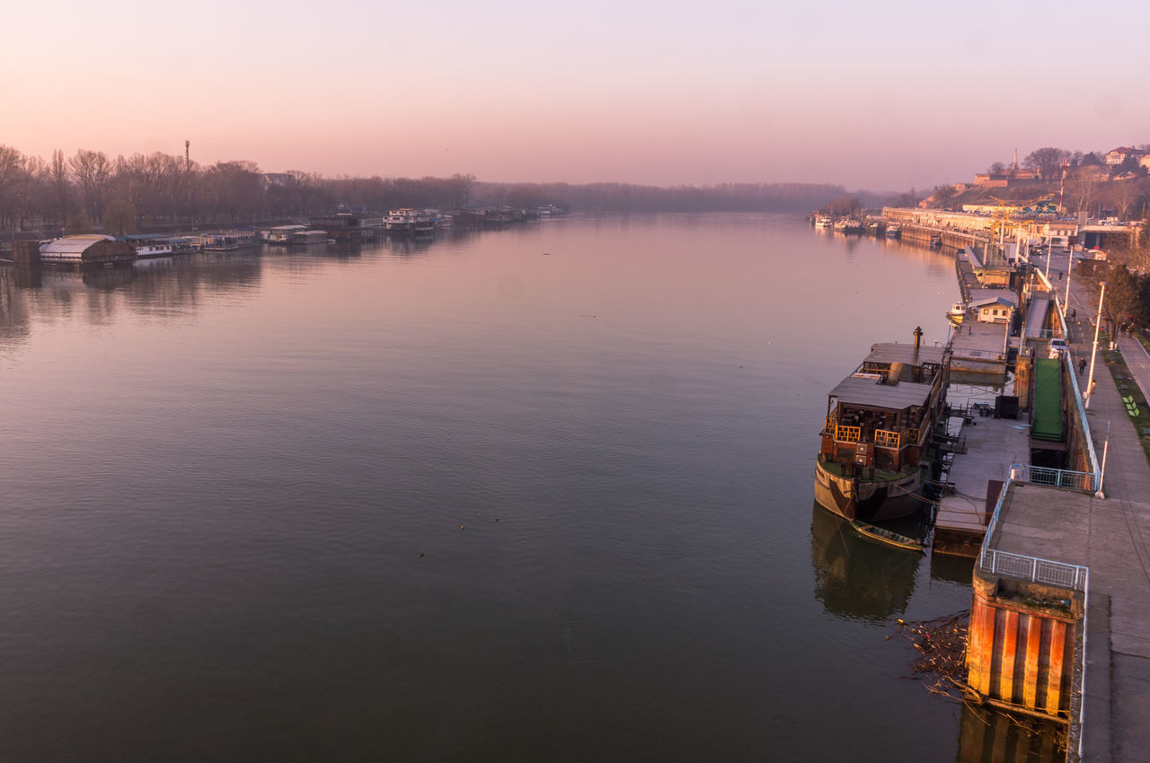 Architecture Building Exterior Built Structure Danube Danube River Day Industry Mode Of Transport Moored Nature Nautical Vessel No People Outdoors Reflection River Sky Sunset Transportation Water Winter