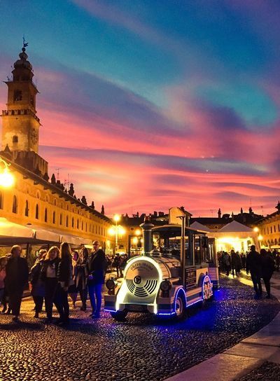 Vigevano, Piazza Ducale Italia Built Structure Building Exterior Architecture Sky Cloud - Sky Illuminated Dusk Large Group Of People Architecture Sunset Night Outdoors Men Women Real People Lifestyles Nightlife Standing City Nature