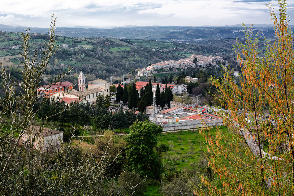Countryside with Sanctuary of Holy Face and the village of Lettomanoppello (Italy) Abruzzo Basilic Church Holy Face Italy Lettomanoppello Manoppello Sanctuary  Village Volto Santo
