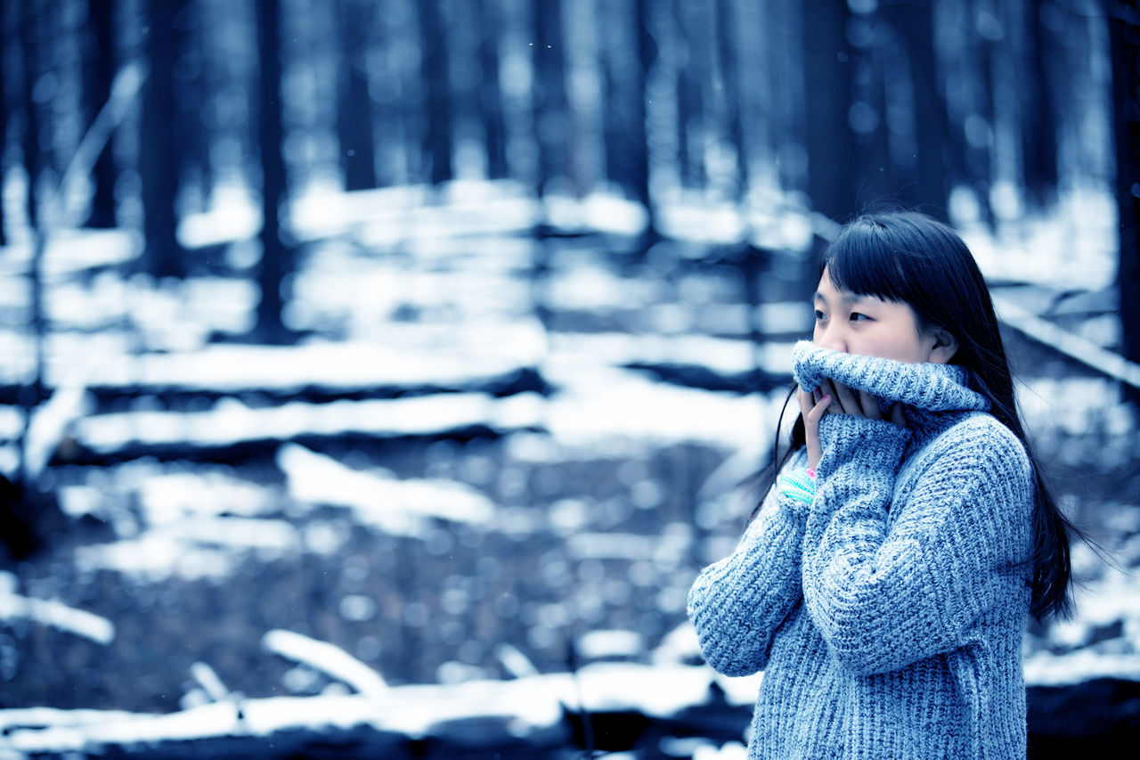 Beautiful Woman Cold Temperature Gril Nature One Person Snow Tree Winter
