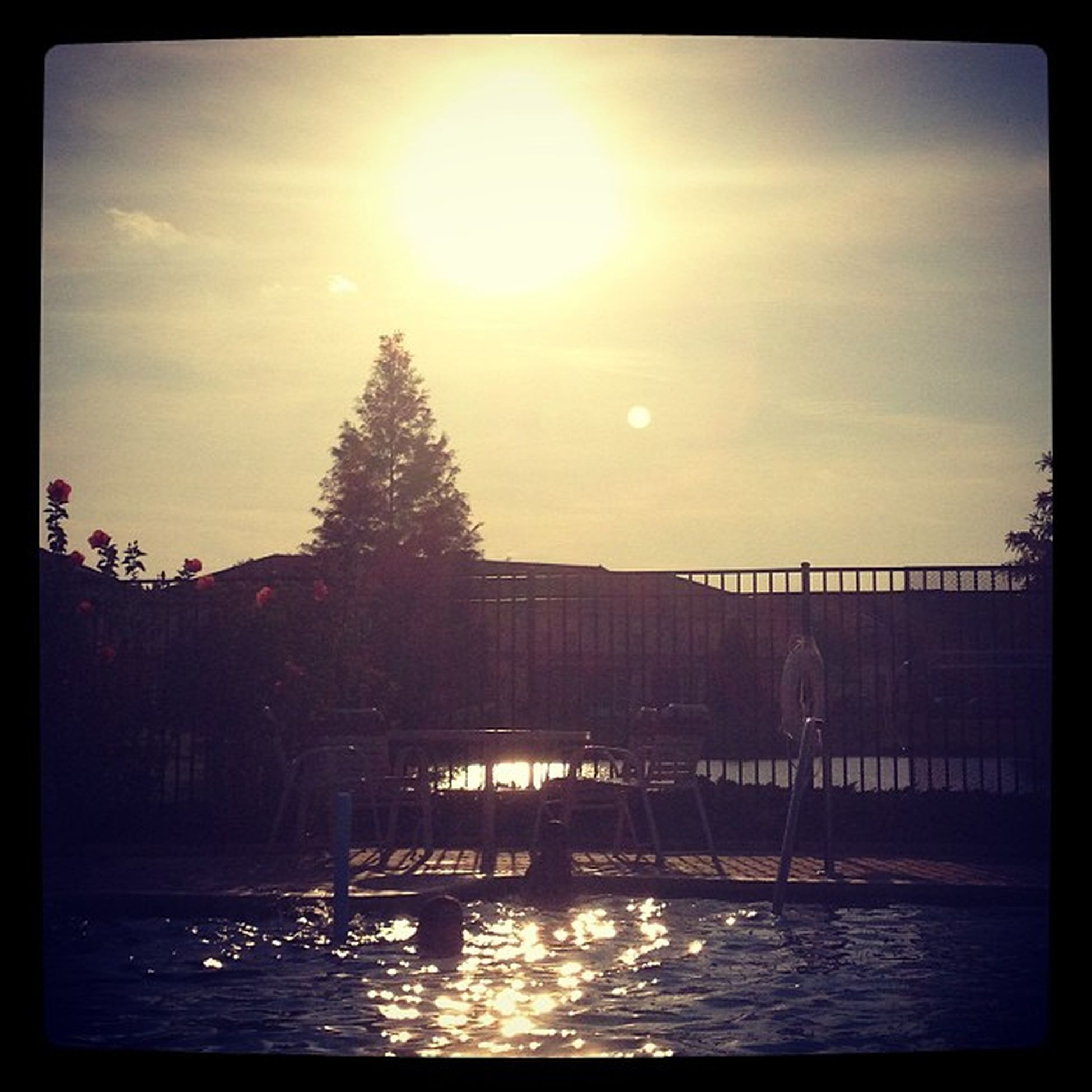 Sunset poolside with the kids Lovelife Summernights2013 Relaxing Livingthesimplelife