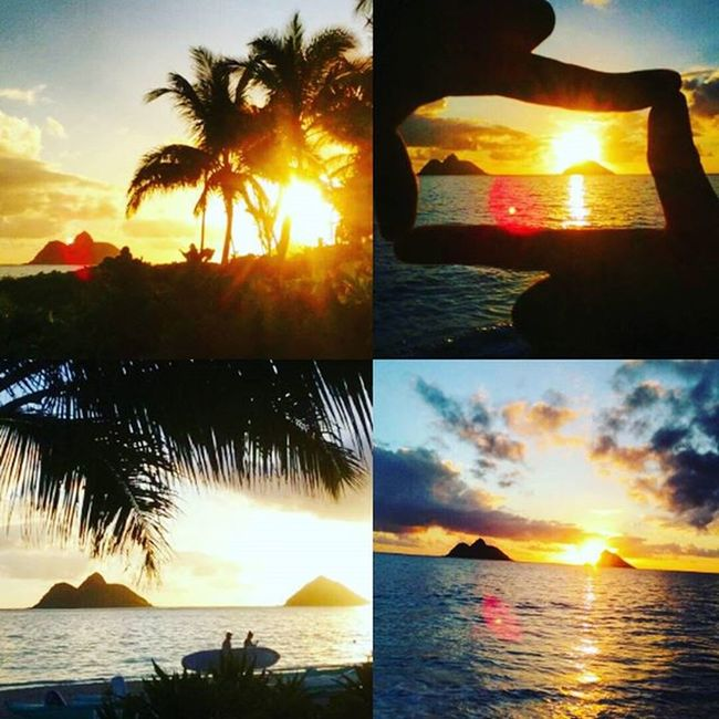 This morning shenanigans with sis. Lanikai  Mokes Twinislands Venturehawaii Epichi Kailua  Sunrise Silhouette Luckywelivehi PicturePerfect