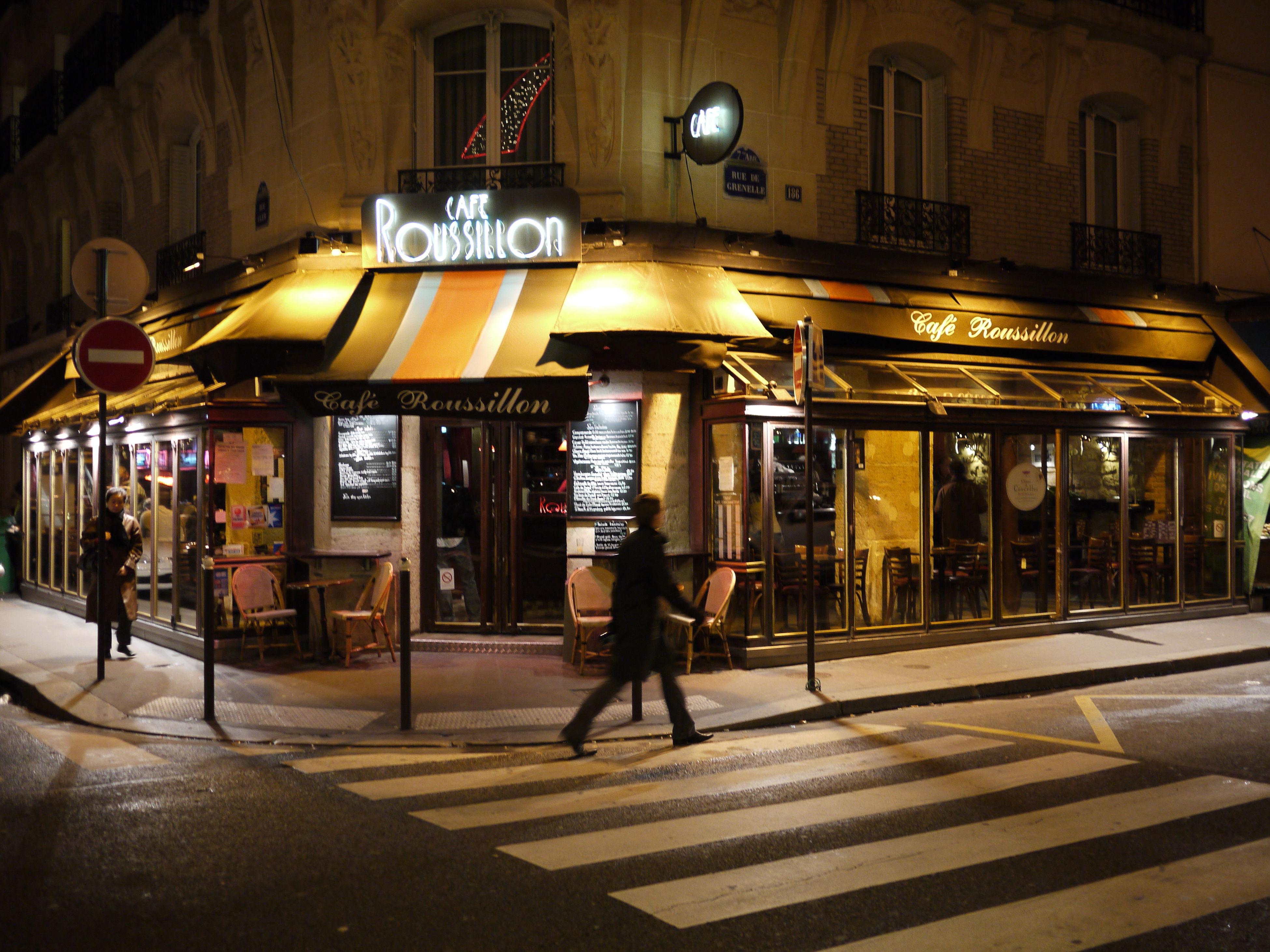 Bar Roussillon City Communication Crosswalk Illuminated Paris ❤ People