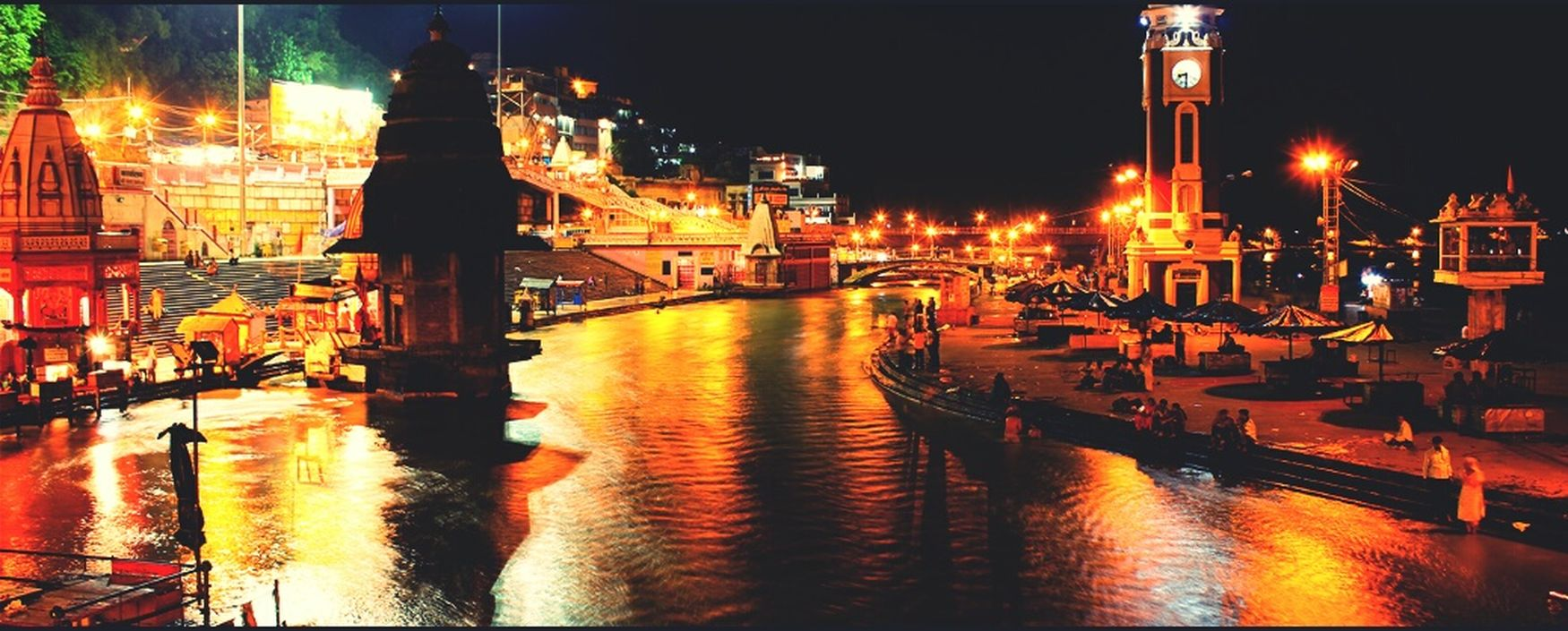 Ganga River Haridwar,India Night City Travel Destinations Beautiful Godhouse Purest River