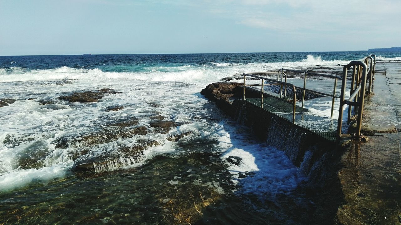 Newcastle Ocean Baths Sea Horizon Over Water Water Wave Surf Motion Scenics Sky Railing Beauty In Nature Travel Destinations Splashing Nature Tide Summer Oceanbaths Sea Spray Ocean Afternoon Sun Enjoying Life Hanging Out Australia Taking Photos IPhoneography Nature