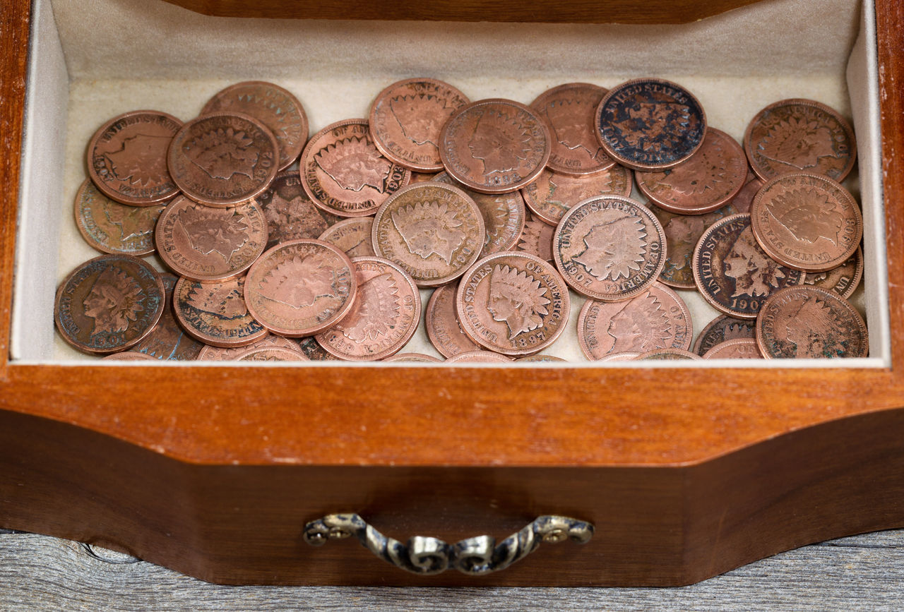 collection of old american Indian head pennies American Antique Chest Close-up Coin Collection Drawer History Indian Head Money No People Rare Save Vintage