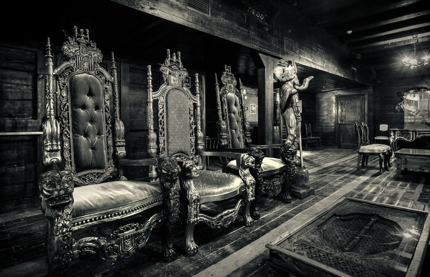 """Alicante, Spain- February 16, 2016: Interior of """"Santisima Trinidad"""" old pirate ship, black and white. Ship is an exact replica of the """"Santisima Trinidad"""". It took over 2 years to build and cost more than 4 million Euros. Alicante, Costa Blanca. Spain Acient Alicante, Spain Ancient Architecture Armchair Black And White Chair Costa Blanca Deck Frigate History Indoors  Inside Interior Landmark No People Pirate Santisima Trinidad Ship SPAIN Statue Tourist Attraction  Travel Destinations Vintage Wooden"""