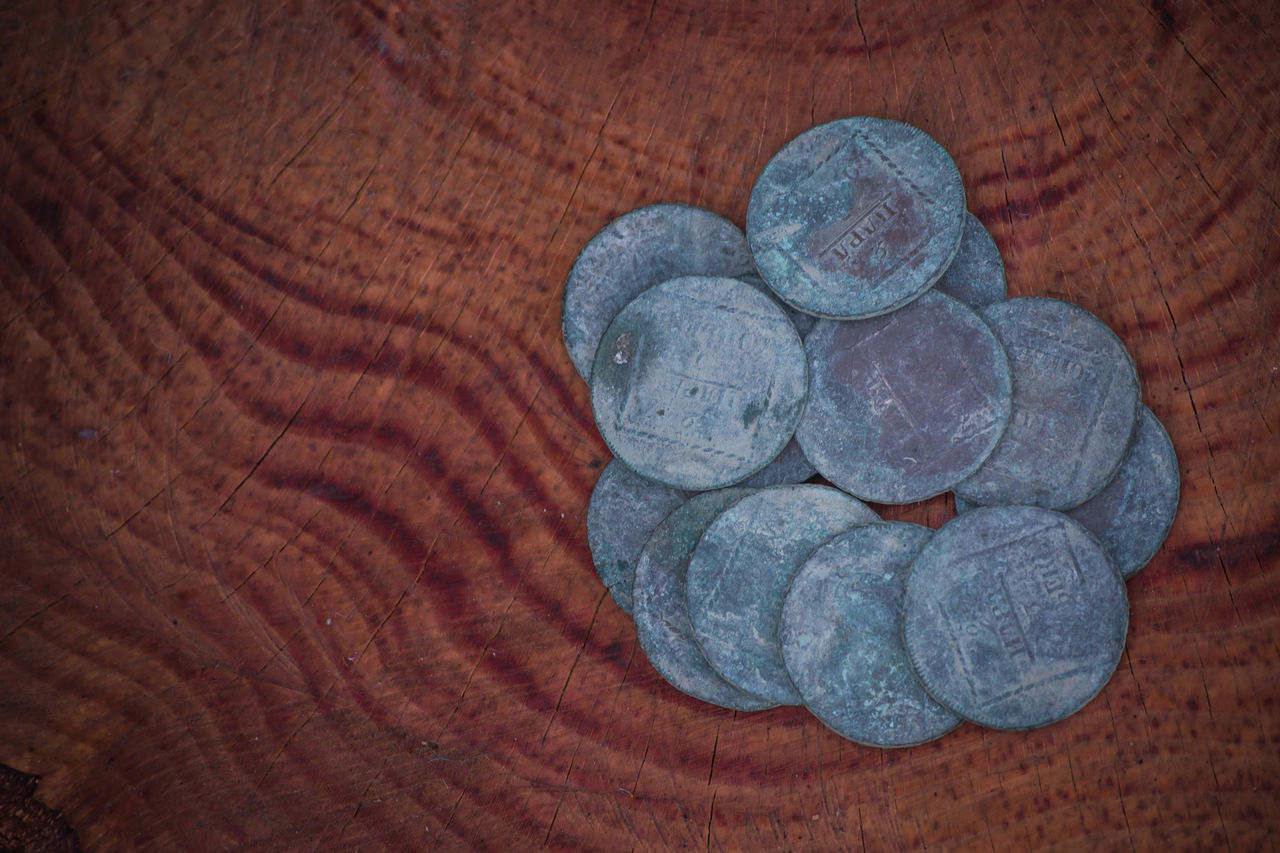 Ancient Antique Bronze Bussiness Coinage Coins Collecting Concept Conceptual Currency History Medieval Money Numismatics Old Red Background Time Trading Treasure Tree Trunk Valuable Vintage Wealth Wood Wood Background
