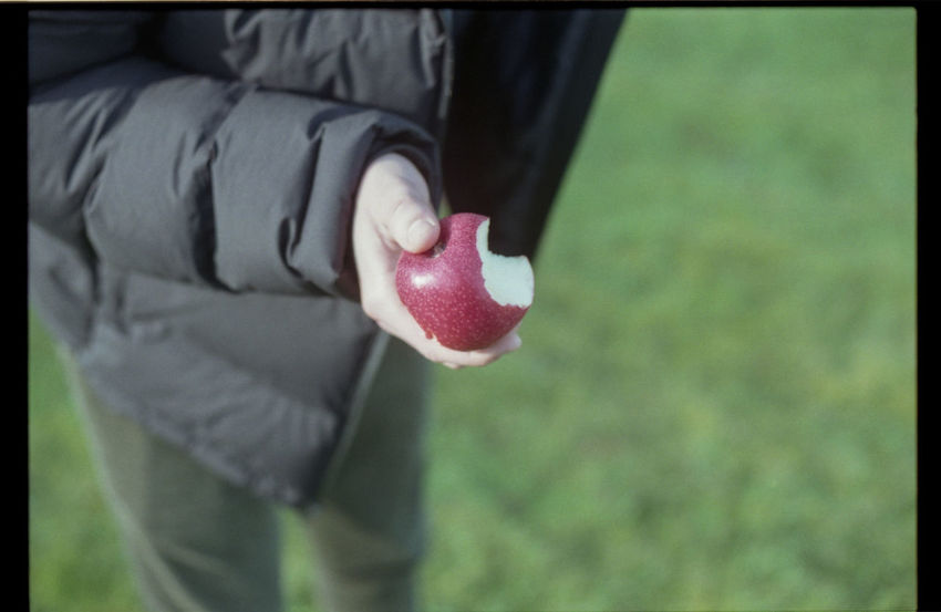 Charlie G. the apple of my eye(em) Apple Depth Of Field EyeEm Best Shots Film Film Camera Film Is Not Dead Film Photography Filmcamera Filmisnotdead Filmphotography Focus Focus On Foreground Grass Green Hand Jacket Light Light And Shadow Nikkormat FS (1965) Nikon Red Showcase April Sun Tadaa Community Taking Photos