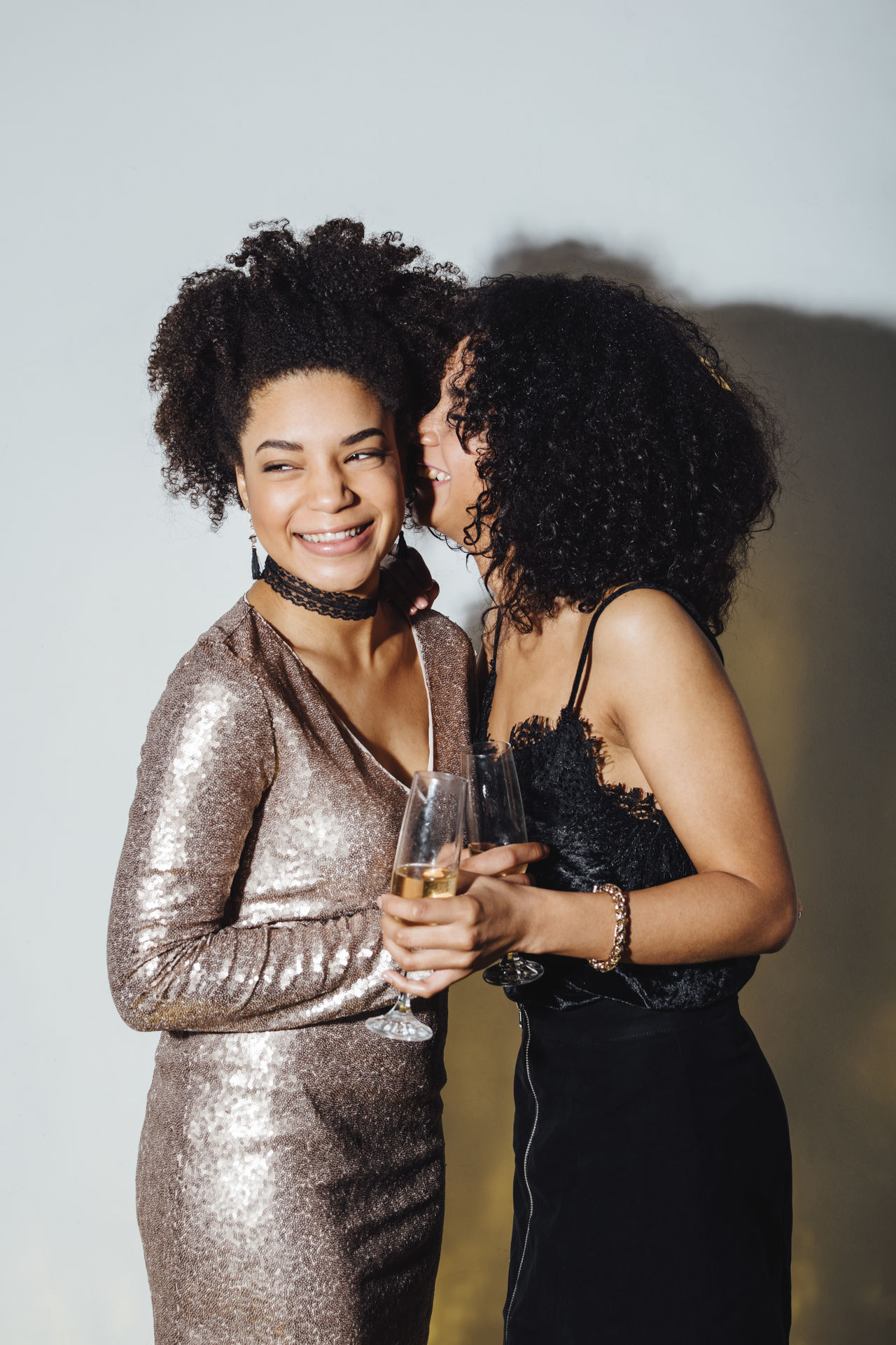 Adult Adults Only Alcohol Beautiful Woman Black Hair Champagne Cheerful Curly Hair Friends Friendship Happiness Happiness Indoors  Indoors  Only Women Party - Social Event People Smiling Together Togetherness Two People Wineglass Women Young Adult
