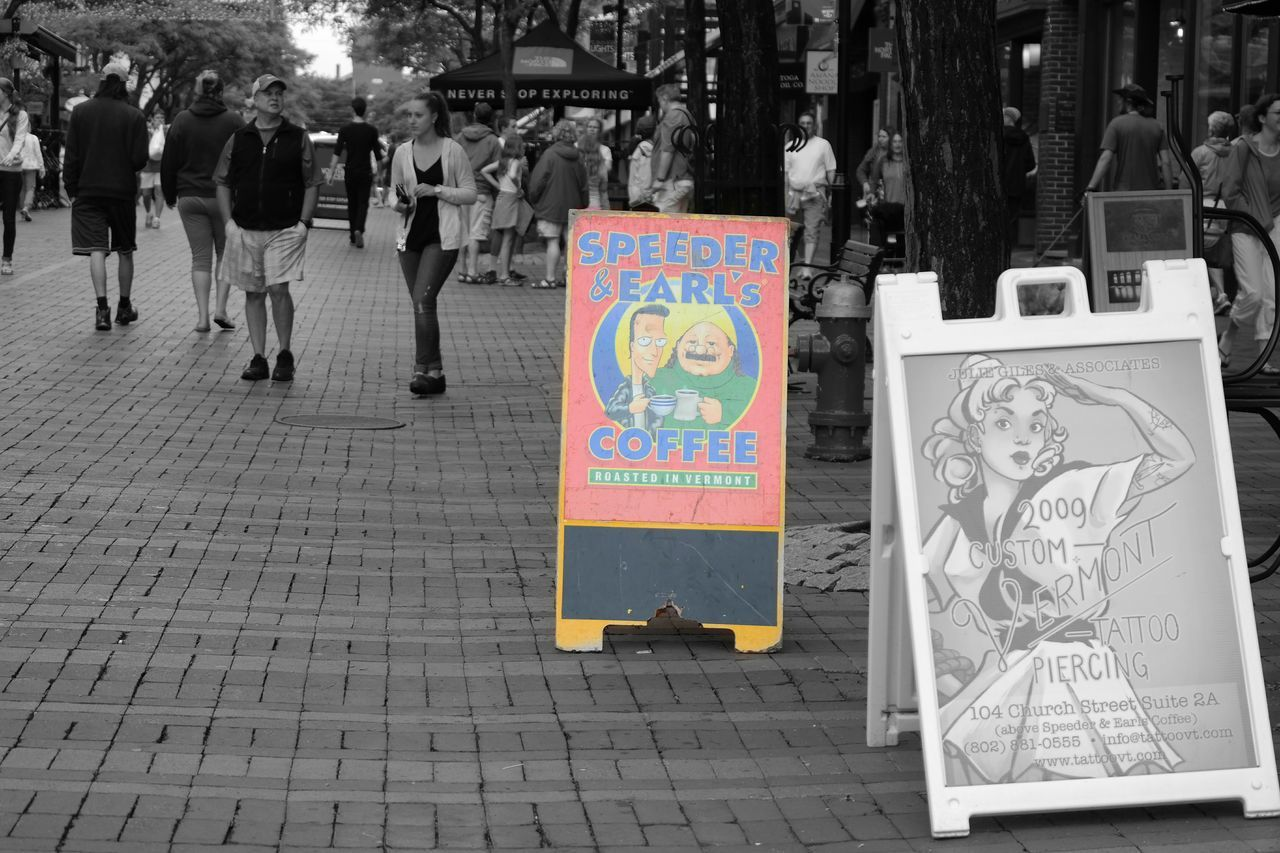 Speeder & Earls. Coffee in Burlington VT on Church Street . Blackandwhite Colorsplash