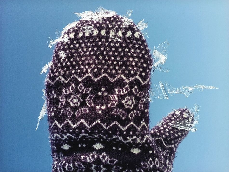 Textile Textures Winter Glove Pieces Of Ice Cold Temperature Close-up Human Hand Weather Winter Theme Lieblingsteil