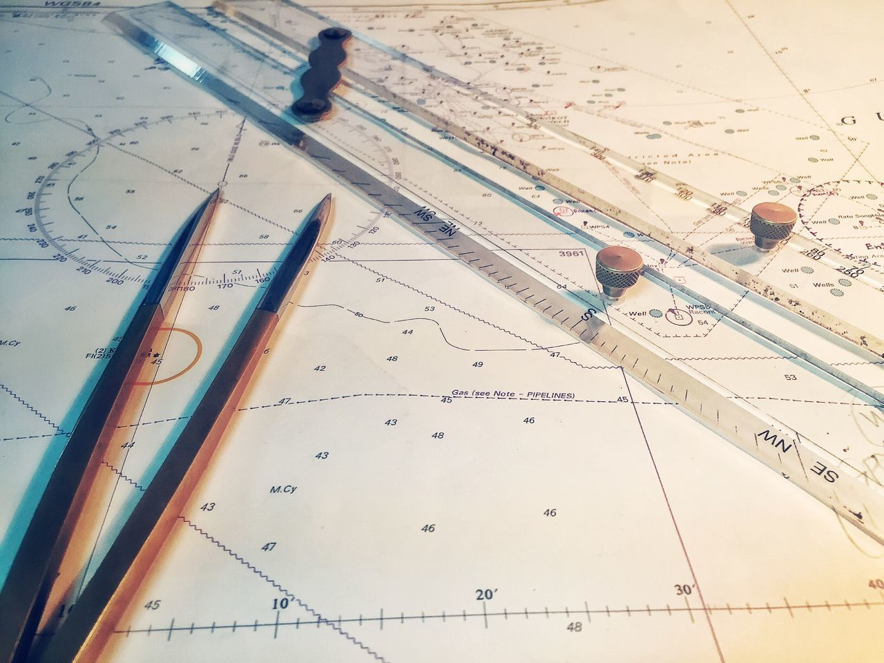 Navigation Chart Compass Rose  Compass Travel Ruler Parallel Lines Longitude Latitude North South East West Coastline Deep Sea Sea