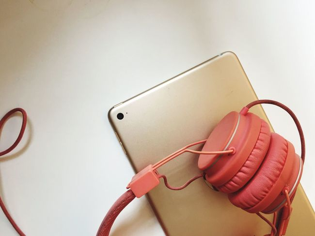 Music Ipad Headphones Gold Colors Urban Lifestyle Lisening To Music