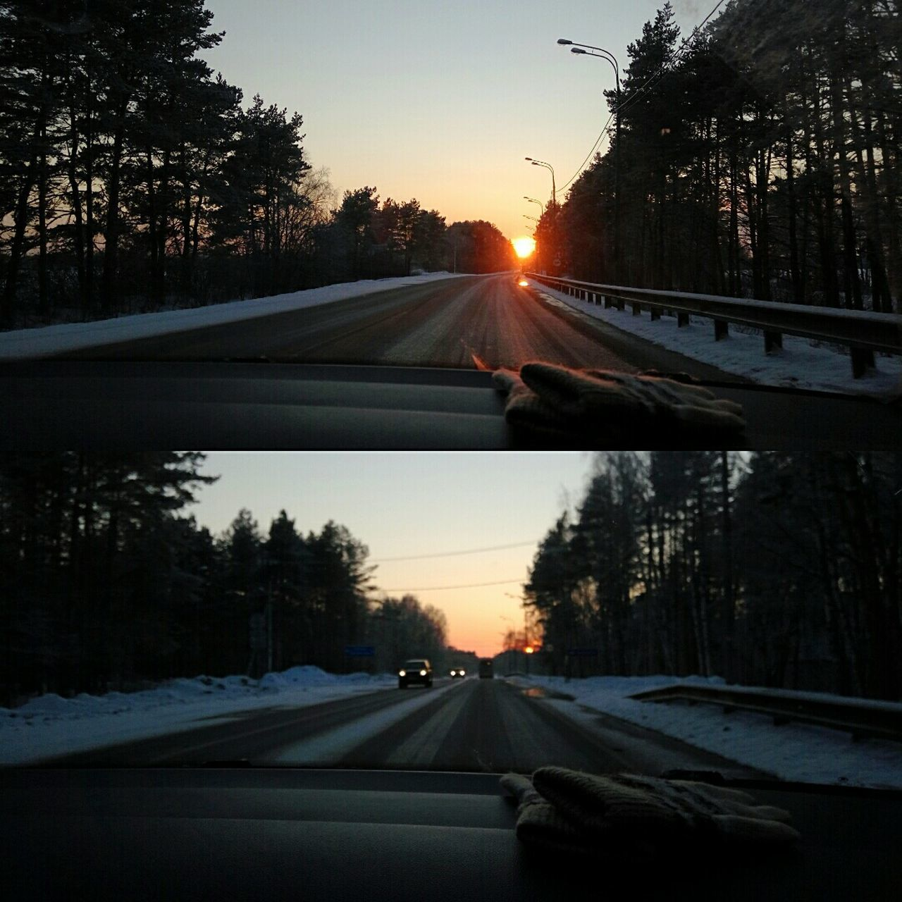 transportation, road, car, the way forward, sunset, windshield, tree, land vehicle, car point of view, diminishing perspective, mode of transport, sun, driving, highway, car interior, winter, no people, silhouette, road trip, nature, motion, cold temperature, snow, outdoors, sky, day