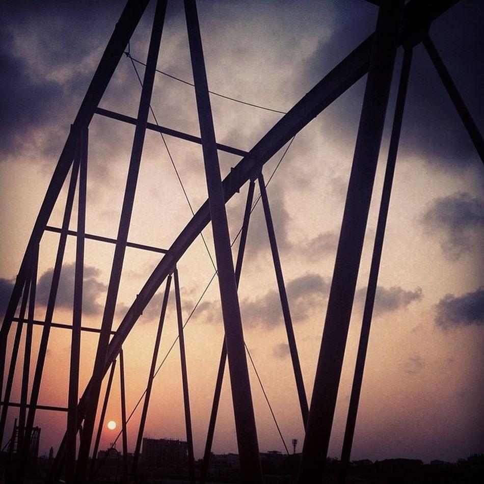 the dusk ! Evening Walk Bridge Sun Set Karnafully River Weather Beautiful Daily Photojournalism Documentary Js Chittagong Instagram