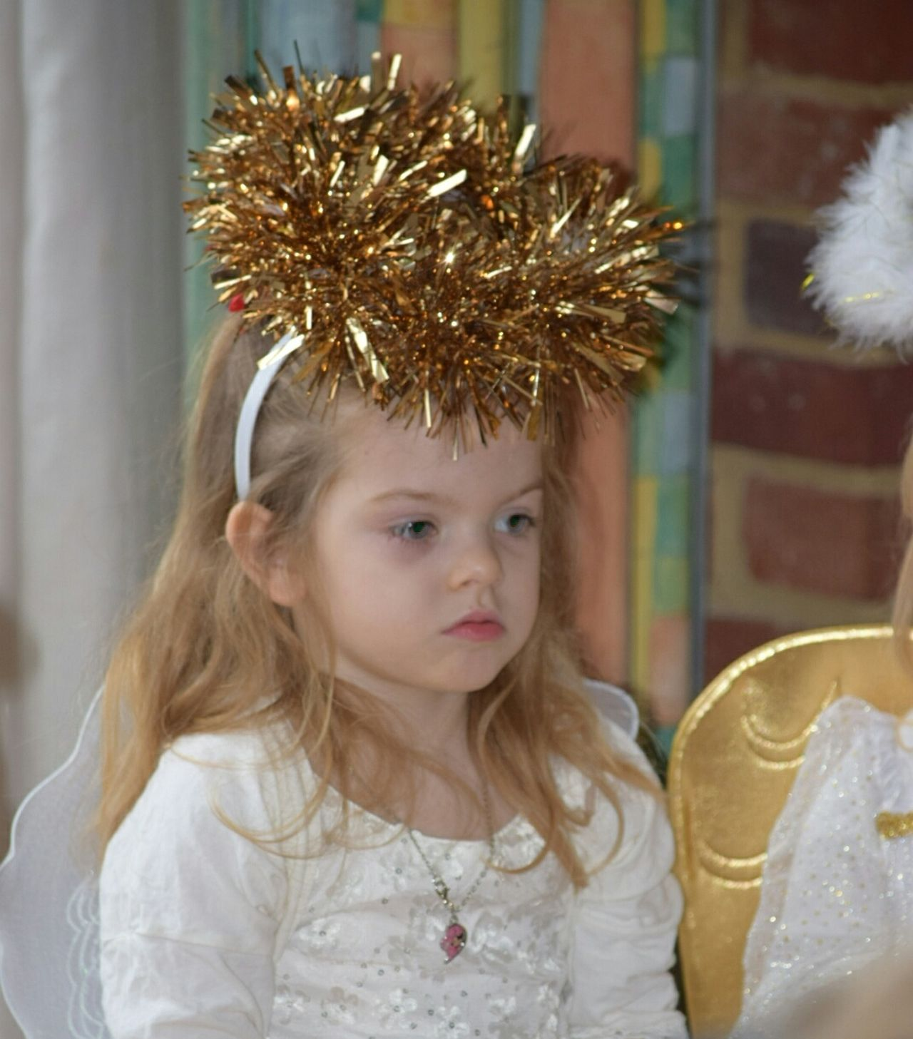 Child Cute Crown One Girl Only One Person Nativity Christmas School Play Angel Childhood Girls Children Only Elementary Age Innocence Only Girls People Blond Hair Portrait Day Close-up Crown White Calm Niece  Indoors