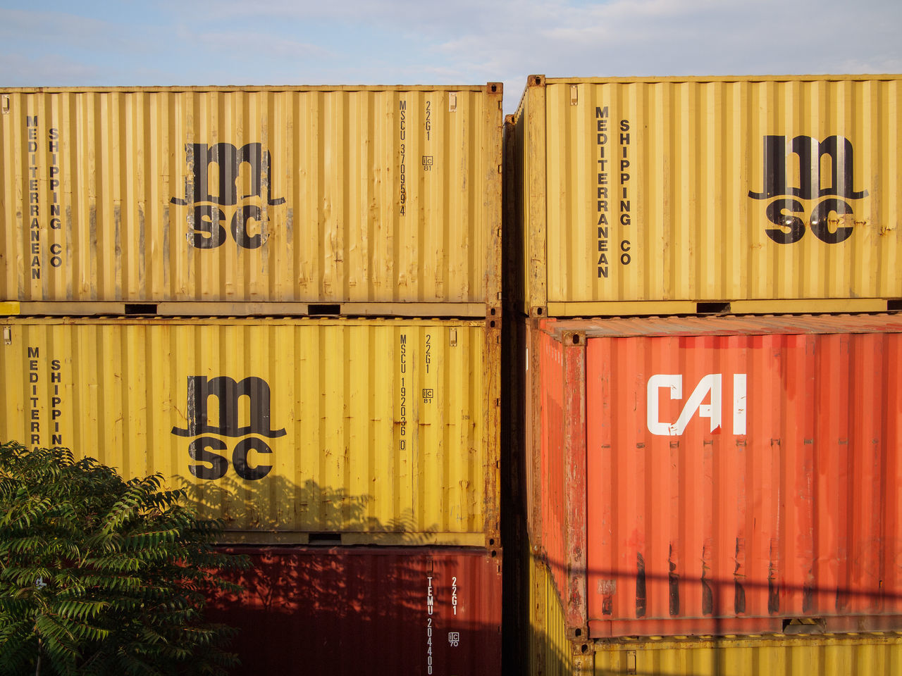 Cargo Container Freight Transportation Industry No People Red Sign Text Yellow