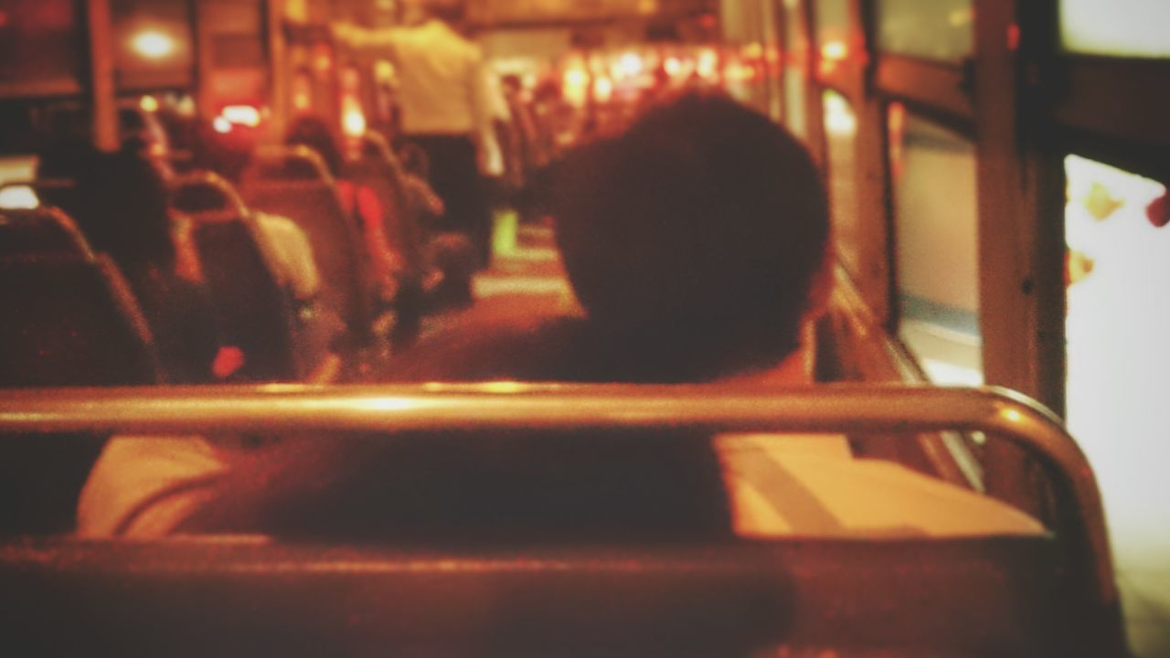 Lovers Couple Student Nightbus Night Lights Nightlife Bangkok Thailand. Love Sleepy Hug Laying Down Laying Boyfriend Girlfriend