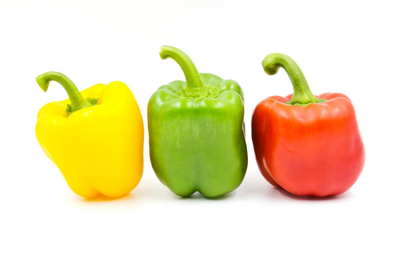 Bell Pepper Freshness Green Bell Pepper Green Color Healthy Eating No People Red Bell Pepper Studio Shot Vegetable White Background