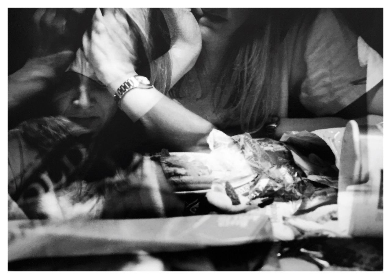 "Compulsions 2. From my series of 12 photos, entitled ""Addictions, Obsessions, Compulsions"". Shot on Kodak TMax 100 film with my Canon EOS Rebel K2. [binge/purge] Compulsions Binge Eating Purging Conceptual Photography  Film Photography Sandwiched Negatives Double Exposure Story Photography Conceptual Image Conceptual Self Portrait Contrast Inspired By Cindy Sherman Cindy Sherman Blackandwhitephotography B&W_collection"