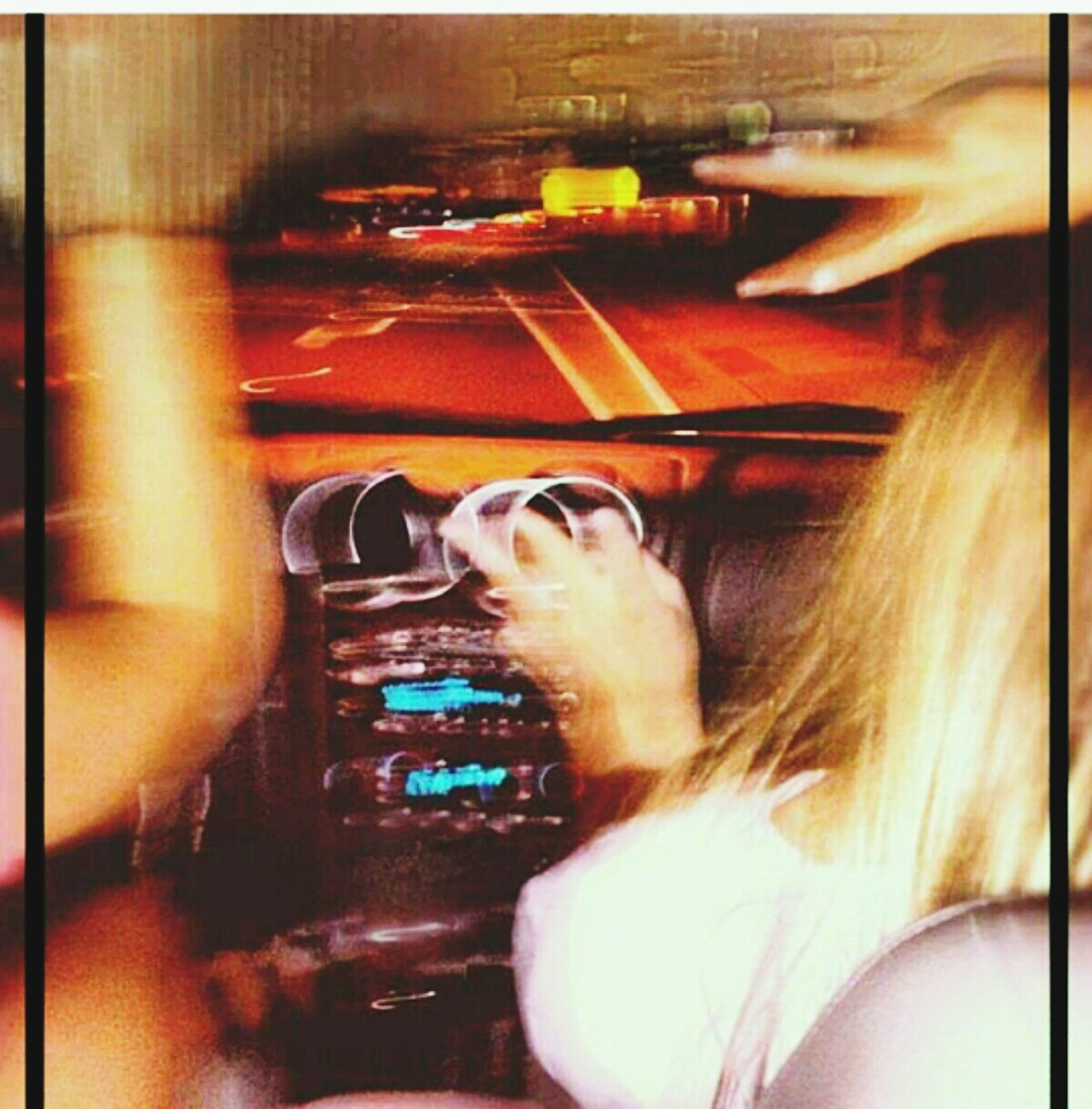 indoors, transportation, lifestyles, leisure activity, vehicle interior, car, part of, mode of transport, blurred motion, person, land vehicle, reflection, auto post production filter, transfer print, motion, travel