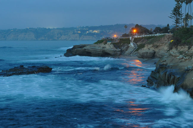 Beauty In Nature California California Coast California Sunset Cliff Coastline Illuminated Lights On Water Rock Formation Scenics Sea Sea Lions At California Shore Stairs Tranquil Scene Tranquility Water Waterfront Wave