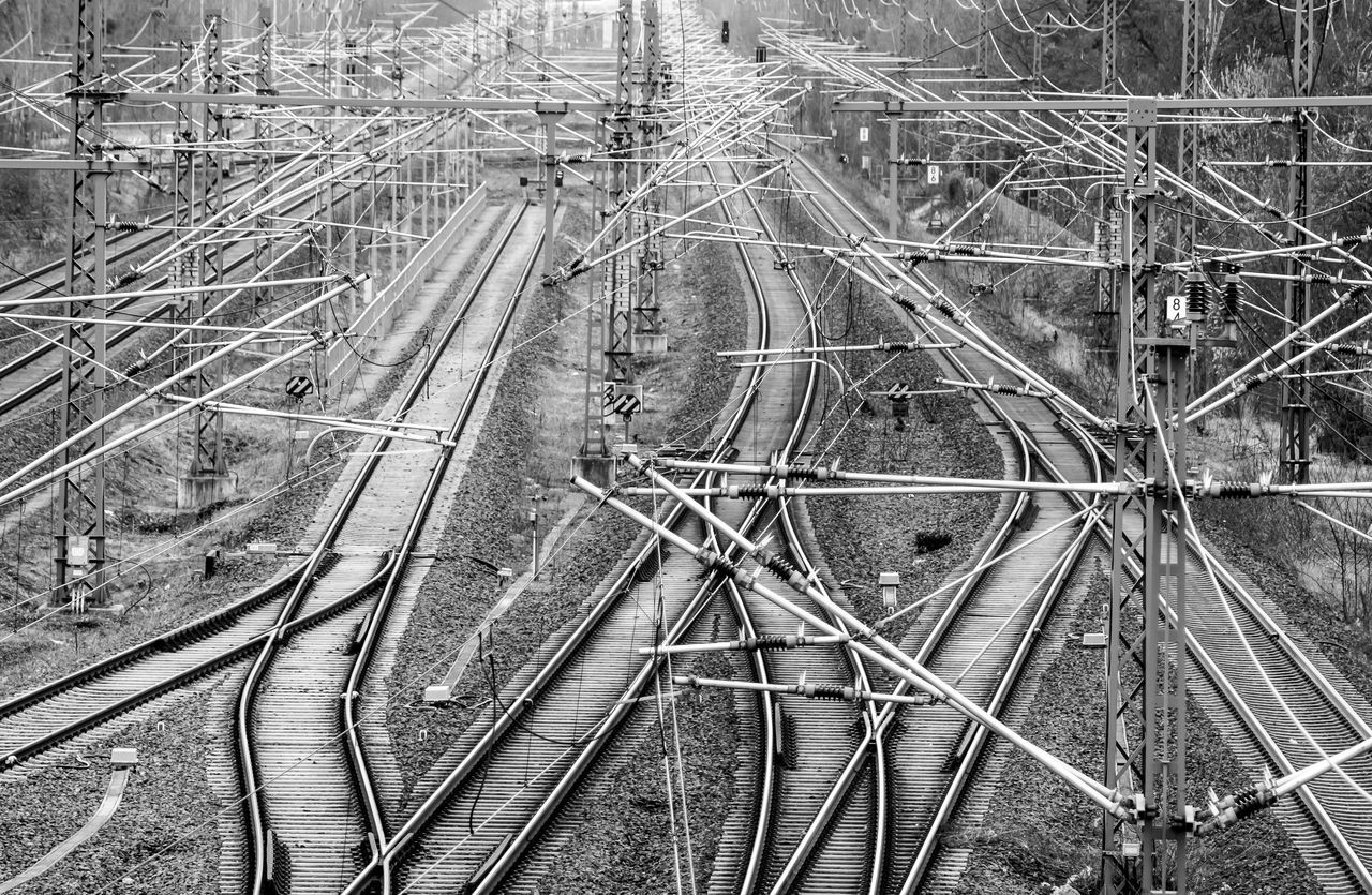 Aerial View Berliner Ansichten Black And White Blackandwhite Complexity Confusion Connection Day Electricity Pylon EyeEm Best Edits EyeEmBestPics Gleise High Angle View Logistic Logistics Nature No People Outdoors Rail Transportation Railroad Track Schienen Transportation Urban Geometry