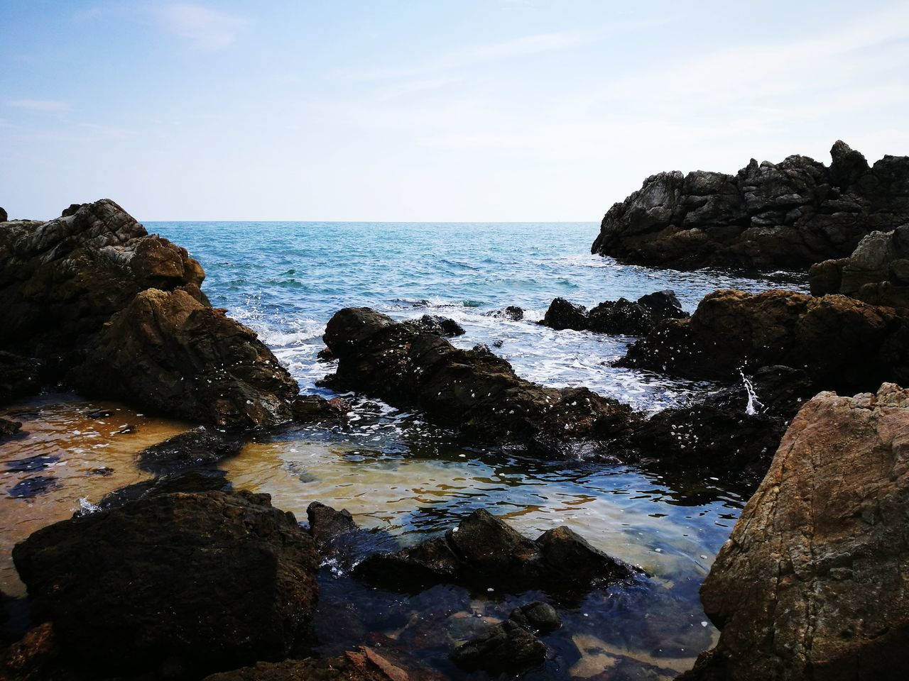 EyeEmNewHere Sea Rock - Object Beach Horizon Over Water Water Nature No People Outdoors Travel Destinations Wave Beauty In Nature Scenics Day Sky Low Tide