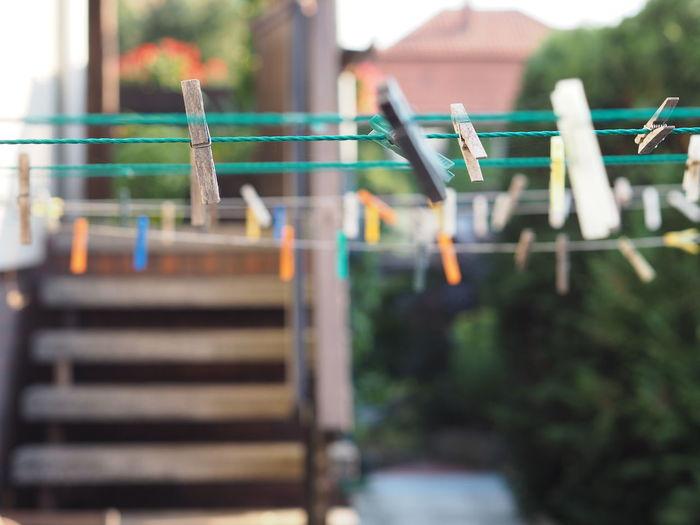 Clothes Peg Clothespins Selective Focus Wash
