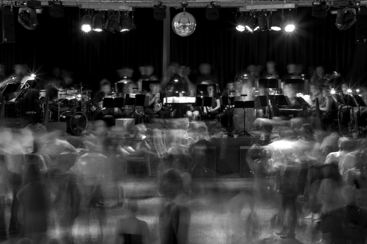 on the dance floor Band Black And White Crowd Dance Dance Floor Dancing Enjoying Life Fun Ghosts Happy People Illuminated Indoors  Instruments Large Group Of People Lights Long Exposure Men Night Nightlife Nightphotography People Playing Real People Shadows Women