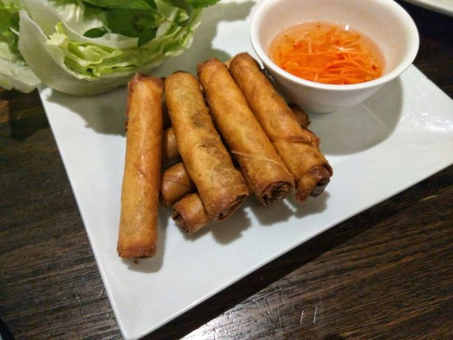 Hungry Yet? Vietnamese Spring Rolls Vietnamese Food Food Porn Food Photography Foodie Food Eat Eating Out On The Table Dishes Foodporn Foodphotography Plated Food Scrumptious Lunch Dinner Dining Out Cooked Sauce
