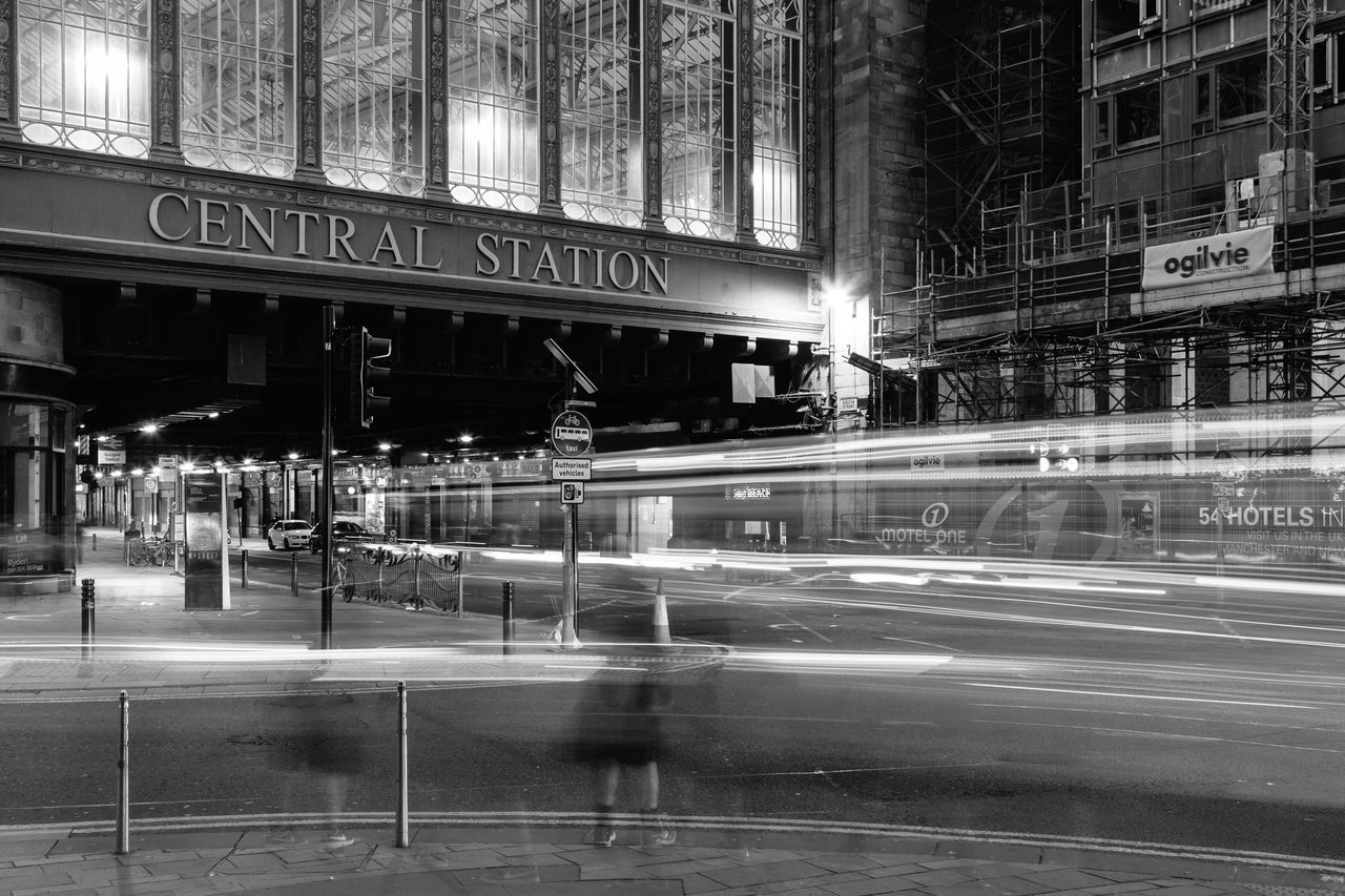 The Street Photographer - 2017 EyeEm Awards Long Exposure Building Exterior Blurred Motion Architecture Night Motion Communication City Text Illuminated Built Structure Light Trail Outdoors Transportation Speed No People Glasgow