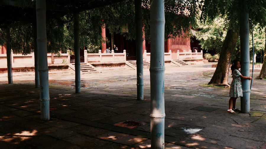 China Architectural Column Architecture Bamboo Built Structure China Day Girl History Temple Tree