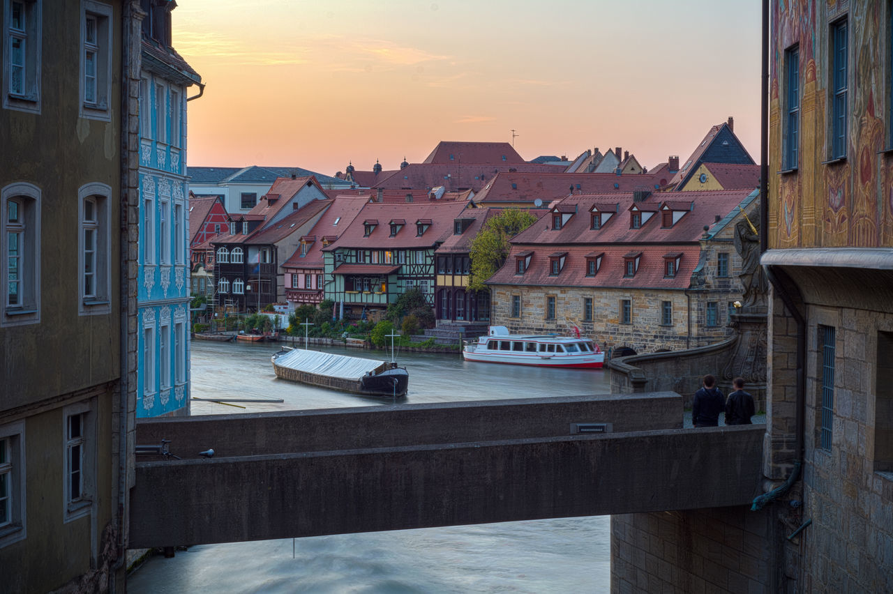 Sunset at Bamberg Altes Rathaus Altes Rathaus Architecture Bamberg  Bayern Building Exterior Built Structure City Day Deutschland Franken Germany Klein Venedig Bamberg Obere Brücke Oberfranken Outdoors Regnitz Residential Building River Schlachthaus The Street Photographer - 2016 EyeEm Awards Skyporn Sunset Transportation Unesco Untere Brücke