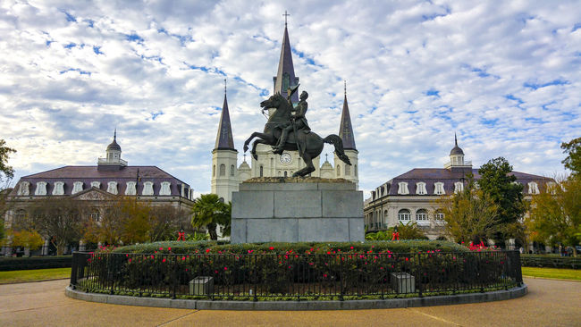 Jackson Square, New Orleans, United States Architecture Building Exterior Built Structure Cathedral City Cloud Cloud - Sky Cloudy Day Dome Façade Grass Jackson Square Lawn Louisiana New Orleans Outdoors Place Of Worship Religion Sky Spirituality Tourism Travel Destinations Tree United States