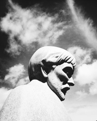 The Thinker II Statue Clouds And Sky Zen Introspection