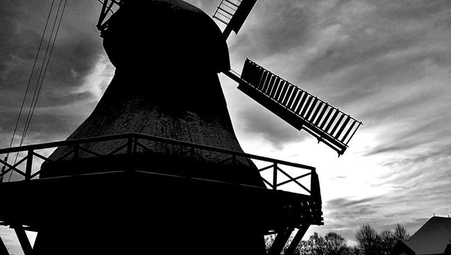 Windmill Blackandwhite Sky And Clouds Historical Building