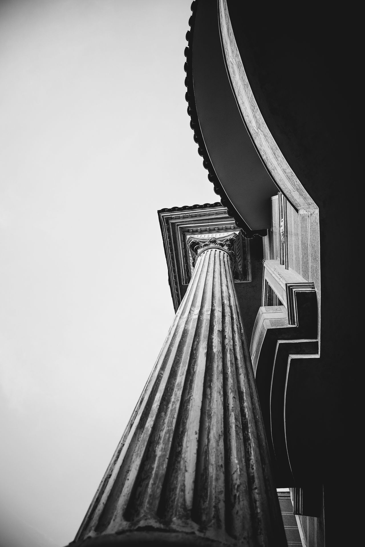 Architectural Feature Architecture Black And White Blackandwhite Bnw_architecturelines Pivotal Ideas Building Building Exterior Built Structure Clear Sky Curves And Lines Diminishing Perspective Eye4photography  Fine Art Photography High Section Low Angle View Monochrome No People Plastering Railing Spirituality Decoration Romanian Pillar Gypsum Fine Art Photograhy