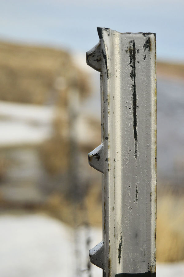 Steel fence post Close-up Day Fence Line Fence Lines Focus On Foreground Metal No People Outdoors