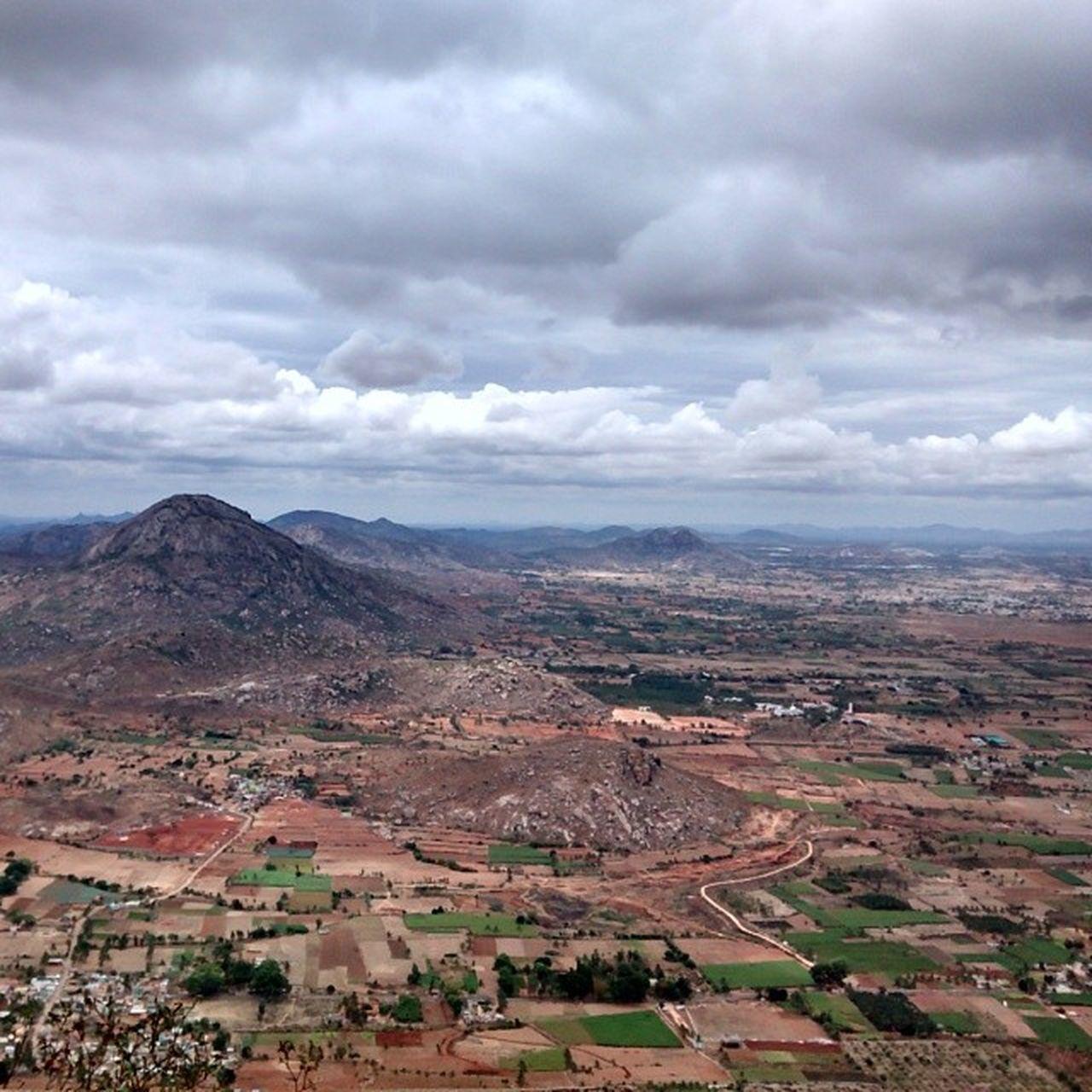 View from Nandi Hills. Cloudyskies Beginningofthecoolweather Bangalore Bluefoot Hump Nandi Hills Farmland