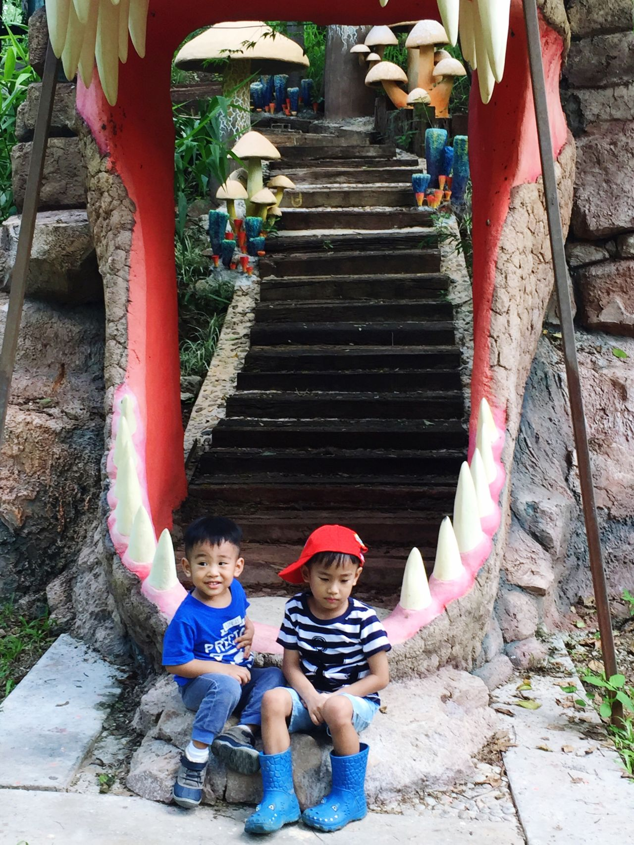 Kids Zoo Trip Family Family Time Brothers Thailand Kaoyai
