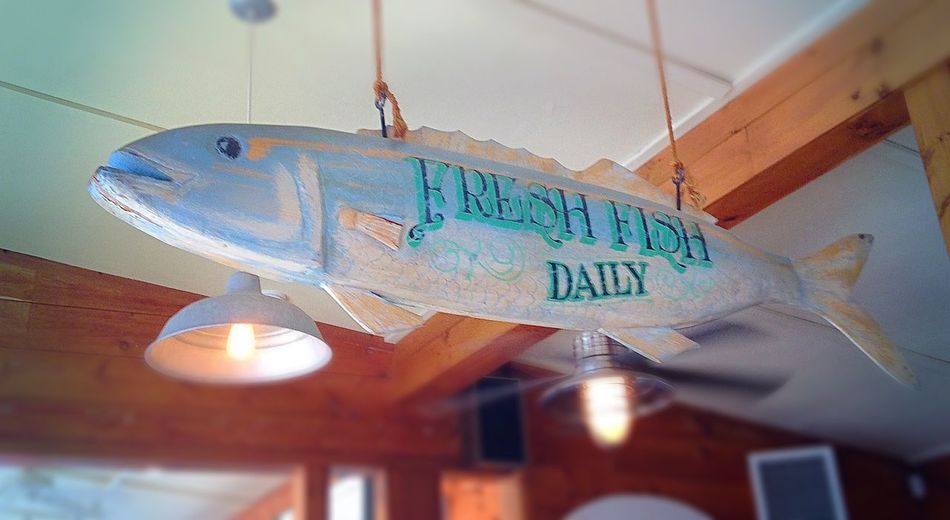 Fresh fish daily Art Is Everywhere Hanging No People Look Up Carved Wood Sign Fish New England  Wooden Unique Perspectives Things I See Cape Cod Pattern, Texture, Shape And Form Summer Vacation Folk Art