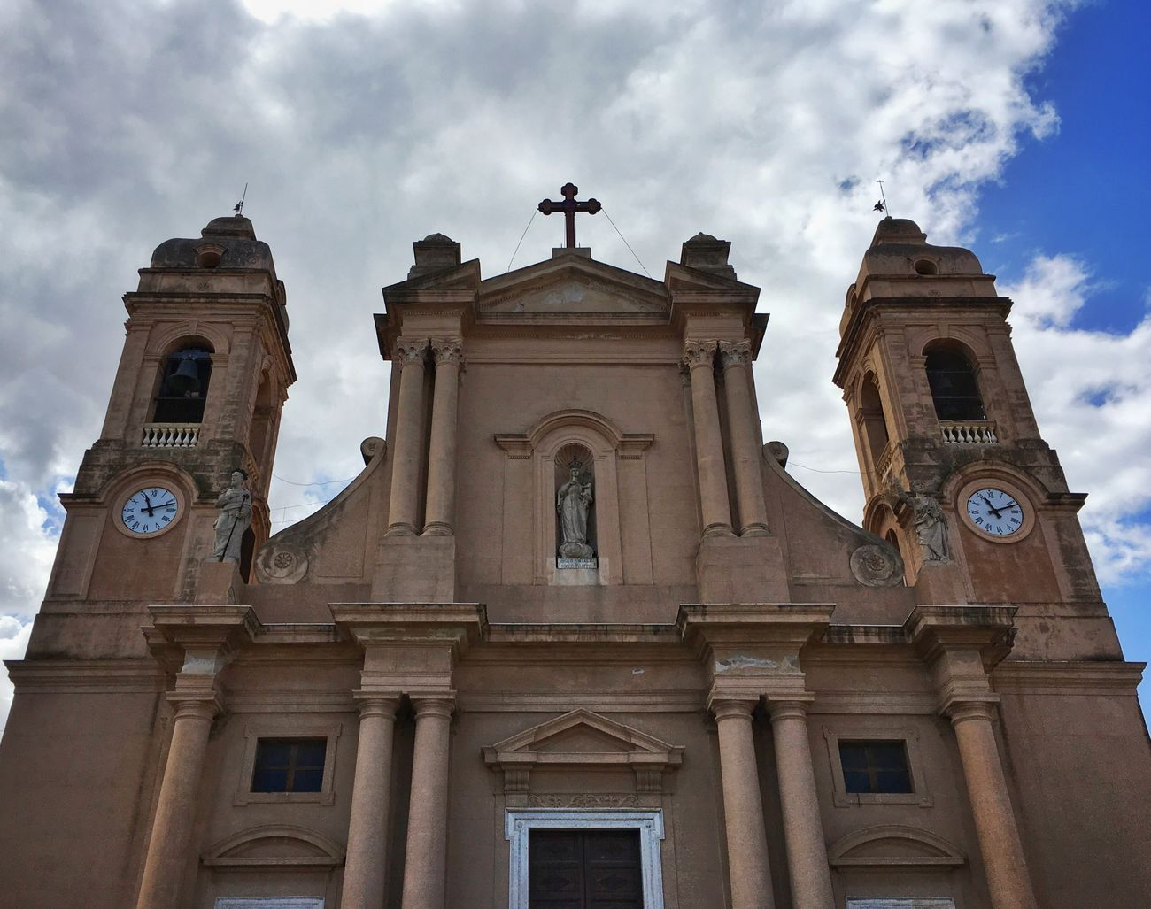 Building Exterior Architecture Built Structure Sky Façade Religion Low Angle View Outdoors Cloud - Sky Travel Destinations Spirituality No People Clock Church Italy Sicily Sicilia Italia Travel Traveling Travel Photography Streetphotography Sky And Clouds Art