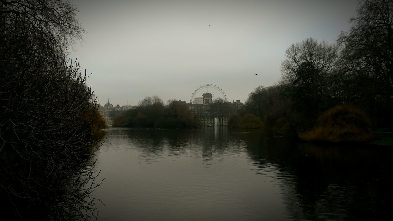 London City London Eye Water Park Reflection Water Reflections Gloomy Gloomy Day Gloomy Weather Grey Distant From A Distance From Afar